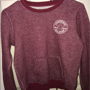 Burgundy converse sweater